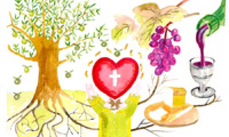 <b>This 'Communion' picture was drawn</b>, under the influence of the Holy Spirit, depicting the tree of life (creation), the Wine & Bread of the 'Last Supper' and the lifting of Christ high within the lives of His believers, revealing Christ's Blood and Love for the World.