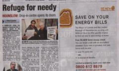 Hounslow Chronicle 30 November 2012 announces Olive Branch opening